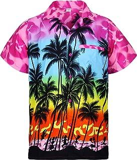 V.H.O. Funky Hawaiian Shirt Casual Men Front Pocket Button Down Very Loud Shortsleeve Unisex Beach Multi Colors