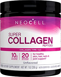 NeoCell Super Collagen Powder, 7 Ounces, Non-GMO, Grass Fed, Paleo Friendly, Gluten Free, Collagen Peptides Types 1 & 3 fo...