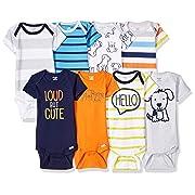 Onesies Brand Baby Boys' 8-Pack Short-Sleeve Bodysuit, Dog, Newborn