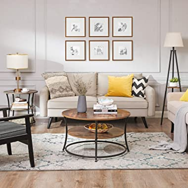 VASAGLE Side Table, Round End Table with 2 Shelves, Living Room, Bedroom, Easy Assembly, Metal, Industrial Design, Vintage, S