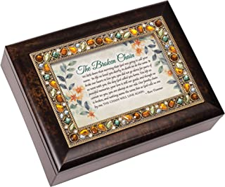 Cottage Garden Broken Chain Will Link Again Jeweled Amber Earth Tones Keepsake Music Box Plays On Eagle's Wings