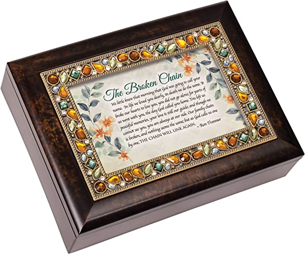 Cottage Garden Broken Chain Will Link Again Jeweled Amber Earth Tones Keepsake Music Box Plays On Eagle S Wings