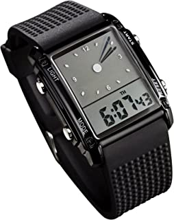 Fanmis Men's Rectangle Dial Sports Wrist Watch with Five Colors Optional LED Backlight Color Black