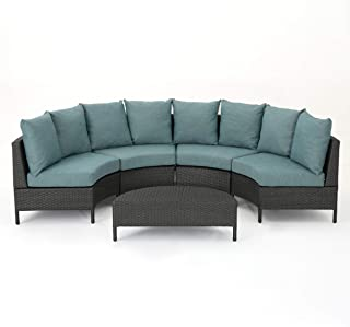 Nessett Outdoor 4 Seater Curved Wicker Sectional Sofa Set with Coffee Table, Gray and Teal