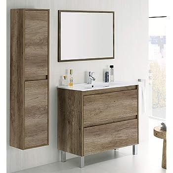 PDM Mueble DE BAÑO SUSPENDIDO Fondo REDUCIDO con Lavabo Espejo TOALLERO Y (Aplique LED no Incluido) MIZAR 80-35 CM (Blanco Brillo): Amazon.es: Hogar