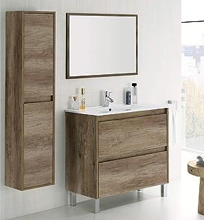 HABITMOBEL Mueble Lavabo CERÁMICO con 2 CAJONES + Espejo +