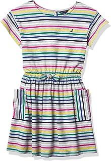 فستان بناتي قصير الأكمام مخطط من نوتيكا