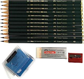 مجموعة أقلام رصاص خشبية 9000 من فابر كاستل مع 12 درجة صلابة (2H وF وHB.) + 1 ممحاة فنية على شكل عجن + 1 ممحاة كبيرة خالية ...