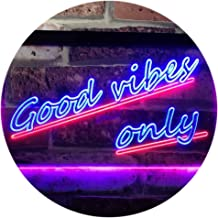 Good Vibes Only Wall Plaque Night Light Dual Color LED Neon Sign Blue & Red 400 x 300mm st6s43-i1077-br