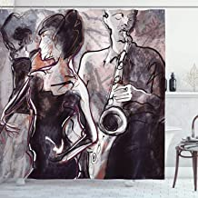 Ambesonne Music Shower Curtain, Illustration of Jazz Man Playing The Saxophone with Dancers Classic Design, Cloth Fabric Bathroom Decor Set with Hooks, 70