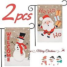 GROBRO7 2 Pcs Christmas Garden Flag Decorative Flag Snowman Welcome & Santa Claus HoHoHo Flag Outdoor Decoration Linen Flag for Winter Holiday