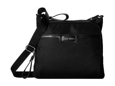 Calvin Klein Lane Nylon Messenger (Black/Silver) Handbags