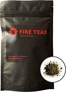 FIRE TEAS - DETOX & GLOW - Weight Loss with Organic Turmeric, Ginger, Organic White Tea, Organic Cardamom, Cinnamon & Saffron- 10 Times More Anti Oxidants than green tea - Each Teabag Brewable 3 Times & can make 1 Full Teapot - Anti-Inflammatory, Detoxing, Cleansing - Made in Washington.