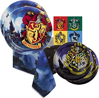Harry Potter Party Supplies Tableware Bundle Pack For 16 Guests - Includes 16 Dinner Plates, 16 Dessert Plates, 16 Dinner Napkins, and 1 Tablecover
