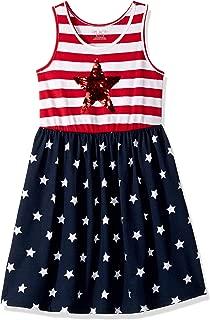 Girls' Big Sleeveless Graphic Sequence Americana Flutter Dress