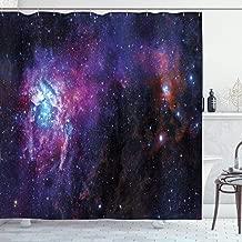 Ambesonne Galaxy Shower Curtain, Starry Night Nebula Cloud Celestial Theme Image Space Art Elements Print, Cloth Fabric Bathroom Decor Set with Hooks, 70