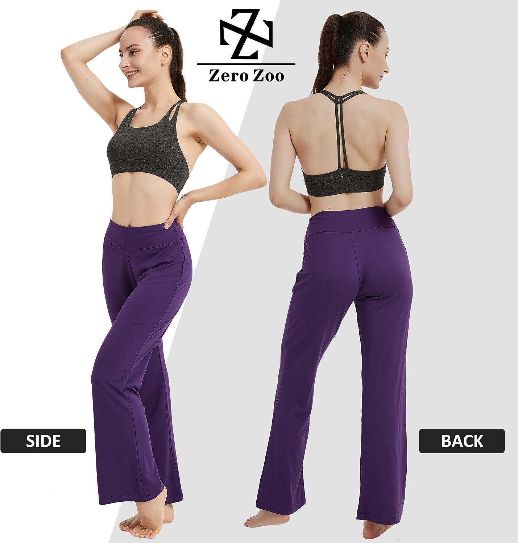 High Waisted Bootcut Workout Pants Tummy Control Sweatpants Zero Zoo Boot Cut Yoga Pants for Women