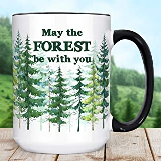 Trees Nature Coffee Mug | May The Forest Be With You Funny Ceramic Cup | Microwave Dishwasher Safe Camping Gift