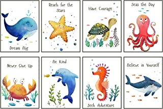 Nursery Wall Decor Sea Creatures - UNFRAMED - Ocean Animal Pictures for Kids, Boy, Girl - Set of 8 Watercolor Prints, 8x10...