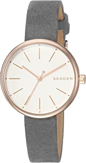 Skagen Signature Grey Stainless Steel & Leather Watch SKW2644