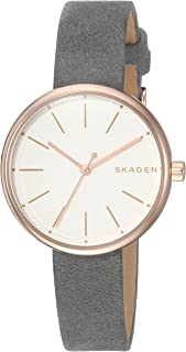 Skagen Signatur Women's White Dial Leather Band Watch - Skw2644, Grey Band, Analog Display