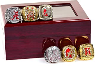 HASTTHOU Set of 6 Alabamas Championship Replica Ring by Display Box Set- Fashion Gorgeous Collectible Jewelry