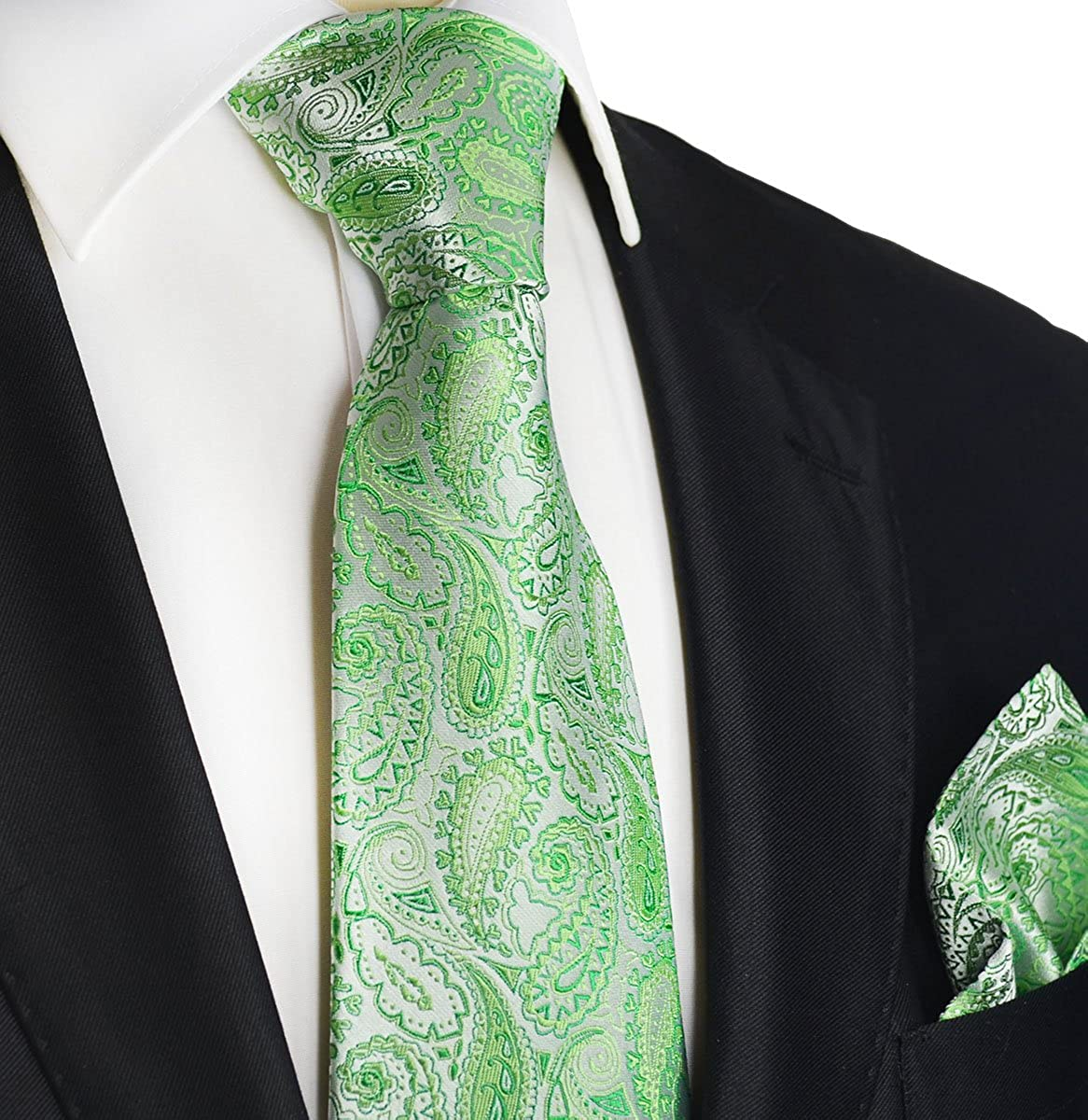 Paul Malone Paisley Silk Tie and Pocket Square Set Green