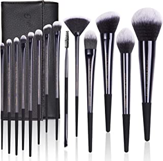 Makeup Brush Set, LEUNG 14pcs Make up Brushes, Professional Premium Synthetic Foundation Powder Concealers Eye Shadows Makeup brushes Set with Glossy Black Bag