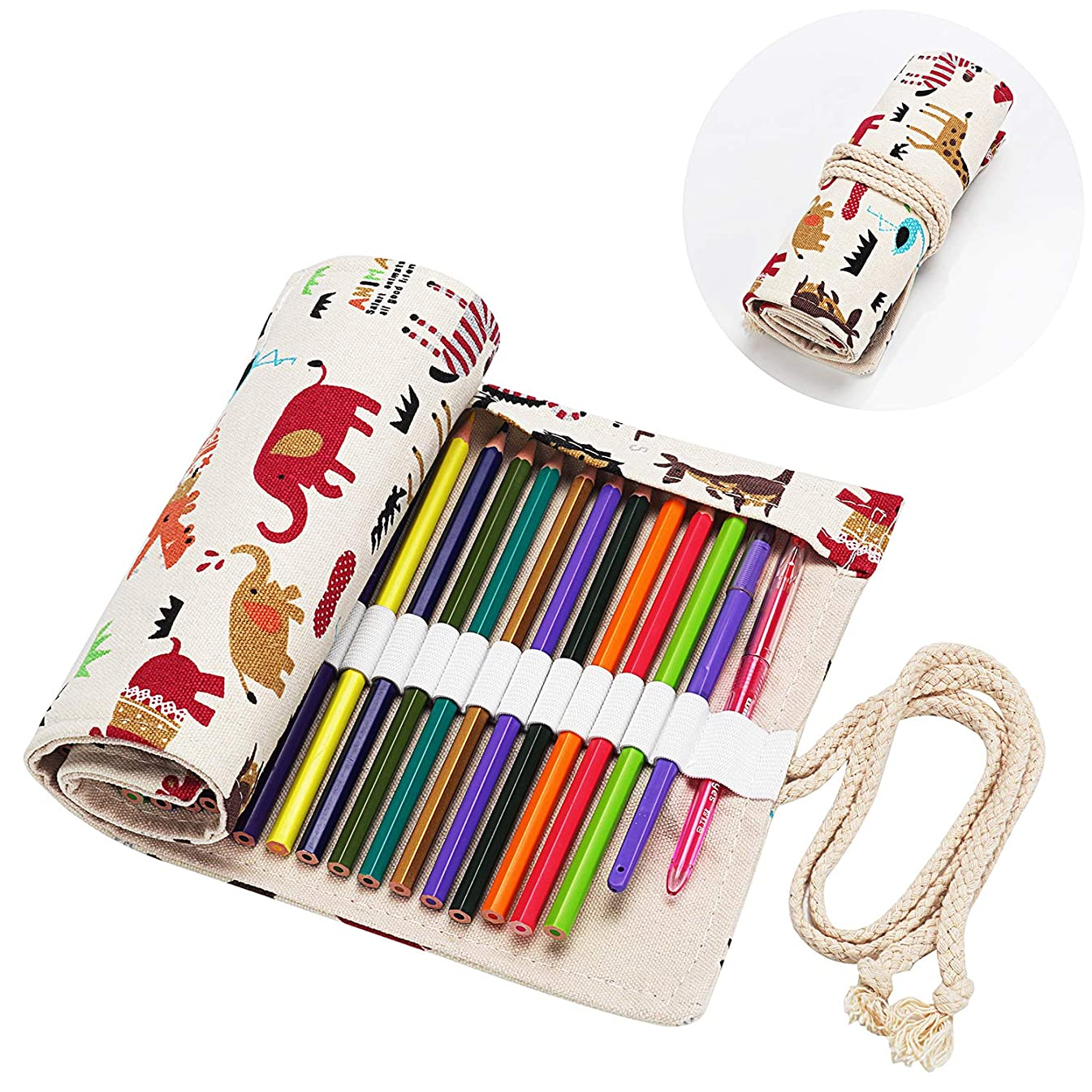 Molshine Handmade Canvas Flowers Style Colored Pencils Wrap 36/48/72 Holes, Roll up Pen Holder Case Cute and Multi-Purpose (NO Pencil Included) (Zoo, 72Holes)