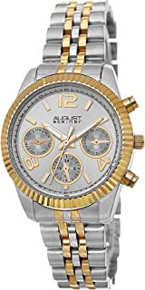 August Steiner Women's Classic Coin Edge Bezel Watch - Sunburst Dial with Day of Week, Date, and 24 Hour Subdial on Two Tone Yellow Gold and Silver Stainless Steel Jubilee Bracelet - AS8103