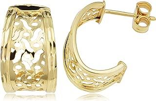 KoolJewelry 14k Yellow Gold Filigree Half Hoop Post Earrings, Made In Italy