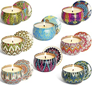YUCH Scented Candles Outdoor and Indoor, 2.5 oz Scented Candles Pure Soy Wax Portable Travel Tin Candle for Stress Relief, 8-Pack Gift Set