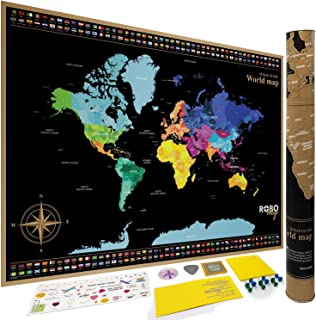 Scratch Off Map of The World with States Outlined for USA and Others Includes Flags/Scratcher Pen/Memory Stickers Large Si...
