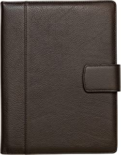 Maruse Italian Leather Padfolio Folder Organizer with Magnetic Closure and Writing Pad 8.5 x 11 - Made in Italy (Dark Brown)