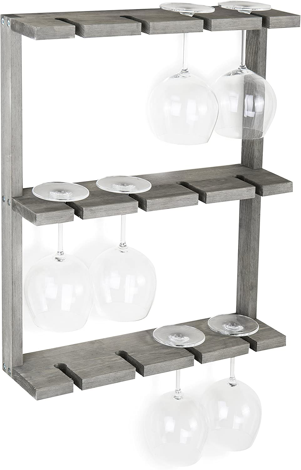 MyGift Vintage Super beauty product restock quality top Gray Wood Wall-Mounted Holder Spring new work one after another Rack Glass 12 Wine