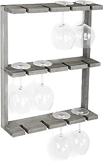 MyGift Vintage Gray Wood Wall-Mounted 12 Wine Glass Holder Rack, Inverted Stemware Display