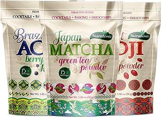 Acai Berry Powder Goji Berry Powder Matcha Green Tea - 3 Powders Pack - Acai Powder Energy Boost Tibet Goji Powder and Mat...