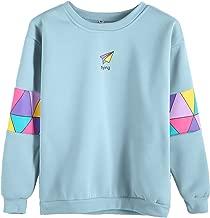 Romwe Women's Top Long Sleeve Color Block Paper Airplane Graphic Print Patchwork Trim Tee Shirt Sweatshirt