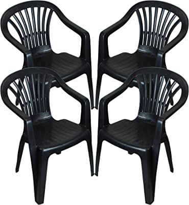 CrazyGadget Plastic Garden Low Back Chair Stackable Patio Outdoor Party Seat Chairs Picnic Grey Pack of 4 (X4)