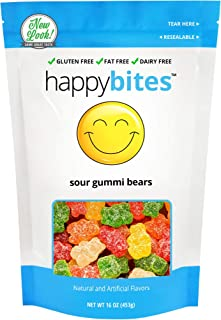 Happy Bites Sour Gummi Bears - Gluten Free, Fat Free, Dairy Free - Resealable Pouch (1 Pound)