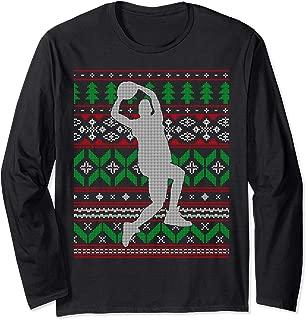 Basketball Player Slam Dunk Dribble Hoops Happy Holidays  Long Sleeve T-Shirt