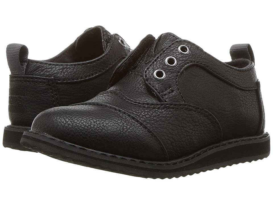 TOMS Kids Brogue (Infant/Toddler/Little Kid) (Black Synthetic Leather) Boy