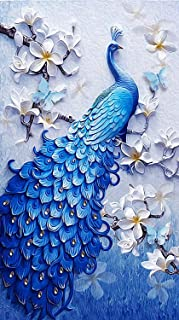 TOCARE DIY 5D Large Diamond Painting by Numbers Kits for Adults 45x75CM/18x30 Inch Full Diamond Lucky Bird Peacock Animal Embroidery Dotz Home Wall Art Decorating