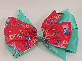 peppa Pink and Aqua Pig inspired Hair Bow