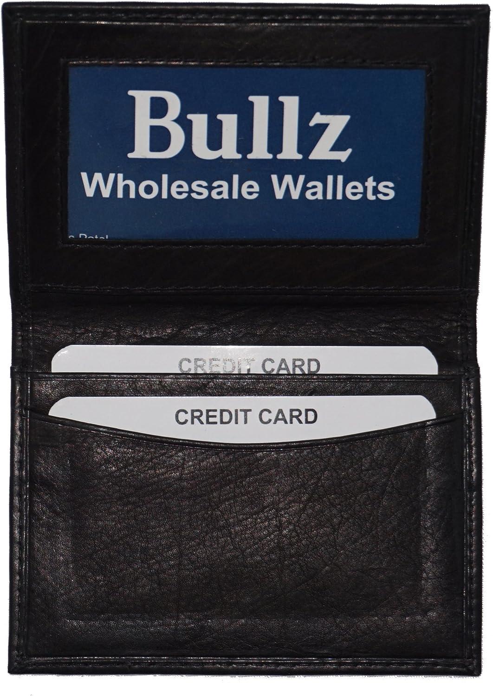 Mens Bifold Leather Thin Window Id Thin Plain Credit Cards Wallet Black 42BK