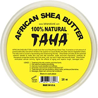 Taha African Shea Butter Cream – 100% Pure, Organic, Unrefined, and Raw, Gold – For Skin and Stretchmarks – 16oz