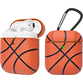 Tekcoo AirPods Case, [Front LED Visible] AirPods Accessories Cover Compatible with Apple Airpods 1 & AirPods 2 Protective PC Plastic Inner + PU Vegan Leather Pattern Skin & Keychain [Basketball]