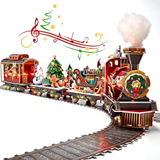 3D Puzzle LED Santa Express Train Colorful LED Lights with Christmas Melody, 3D Puzzles for Adults Kids Christmas Steam Tr...