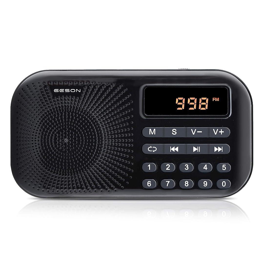 ロープピルファー部族Geson FM AMポケットラジオ 充電式 多機能MP3ラジオプレーヤー ワイドFM対応ポータブルラジオ (黒)