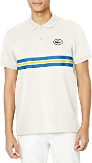 Lacoste Men's Short Sleeve Regular Fit Heritage Badge Striped Polo Shirt